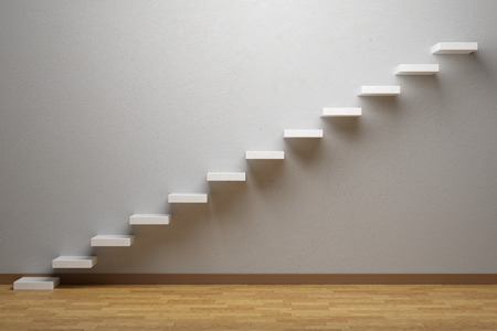 Business rise, forward achievement, progress way, success and hope creative concept: Ascending stairs of rising staircase in empty room with parquet floor and plinth, 3d illustration