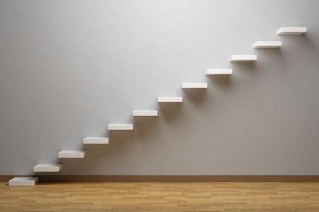 Zakelijke stijging, naar voren prestatie, vooruitgang weg, succes en hoop dat creatief concept: stijgende treden van de stijgende trap in lege ruimte met parketvloer en sokkel, 3d illustratie