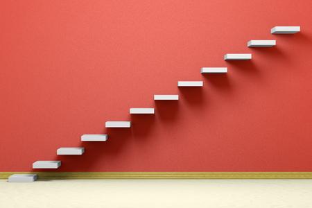 empleos: Aumento de negocios, logro hacia adelante, así el progreso, el éxito y la esperanza creativa concepto: Ascendente escaleras del aumento escalera en habitación vacía de color rojo con piso y zócalo de color beige, ilustración 3d