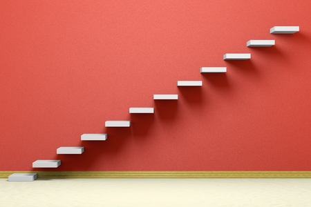 Business rise, forward achievement, progress way, success and hope creative concept: Ascending stairs of rising staircase in empty red room with beige floor and plinth, 3d illustration