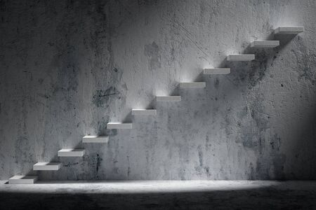 ascending: Business rise, forward achievement, progress way, success and hope creative concept: Ascending stairs of rising staircase in rough dark empty room with light with concrete floor and concrete wall 3d illustration Stock Photo