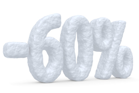 price cut: Winter retail, sale, commercial and business advertisement creative abstract concept: christmas sale discount offer, snowy special 60 percent price cut off text made of snow isolated on white.