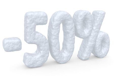 cut off: Winter retail, sale, commercial and business advertisement creative abstract concept: christmas sale discount offer, snowy special 50 percent price cut off text made of snow isolated on white