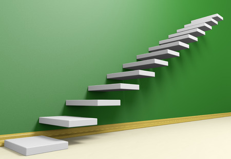 the way forward: Business rise, forward achievement, progress way, success and hope creative concept: Ascending stairs of rising staircase in green empty room with beige floor and plinth, 3d illustration Stock Photo