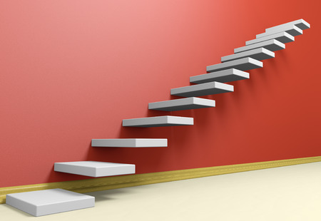 Business rise, forward achievement, progress way, success and hope creative concept: Ascending stairs of rising staircase in red empty room with beige floor and plinth, 3d illustration
