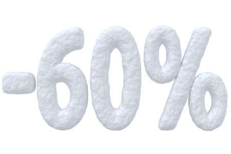 price cut: Winter retail, sale, commercial and business advertisement creative abstract concept, christmas sale discount offer, snowy special 60 percent price cut off text made of snow isolated on white.