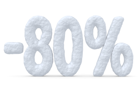 price cut: Winter retail, sale, commercial and business advertisement creative abstract concept; christmas sale discount offer, snowy special 80 percent price cut off text made of snow isolated on white. Stock Photo