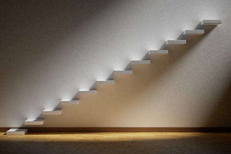 stairway: Business rise, forward achievement, progress way, success and hope creative concept: Ascending stairs of rising staircase in dark empty room with light with parquet floor and plinth, 3d illustration Stock Photo