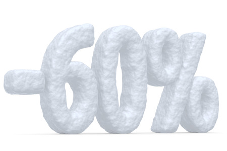 cut off: Winter retail, sale, commercial and business advertisement creative abstract concept, christmas sale discount offer, snowy special 60 percent price cut off text made of snow isolated on white