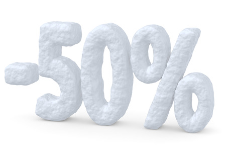 price cut: Winter retail, sale, commercial and business advertisement creative abstract concept; christmas sale discount offer, snowy special 50 percent price cut off text made of snow isolated on white