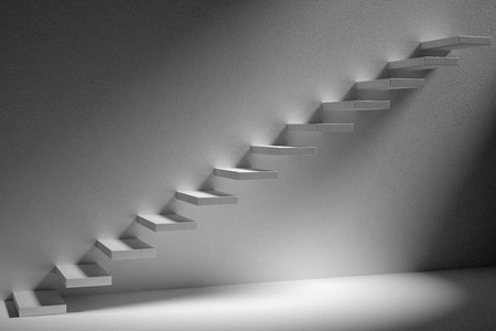 ascending: Business rise, forward achievement, progress way, success and hope creative concept: Ascending stairs of rising staircase in dark empty room with lightc 3d illustration