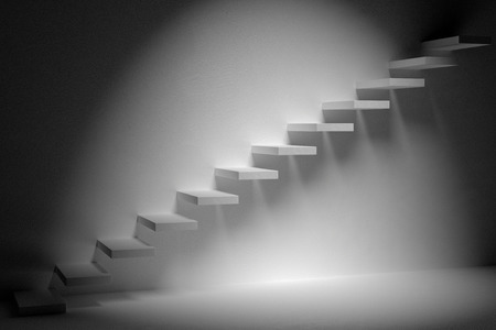 ascending: Business rise, forward achievement, progress way, success and hope creative concept: Ascending stairs of rising staircase in dark empty room with spot light 3d illustration Stock Photo