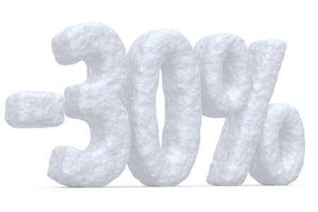 snow white: Winter retail, sale, commercial and business advertisement creative abstract concept, christmas sale discount offer, snowy special 30 percent price cut off text made of snow isolated on white.