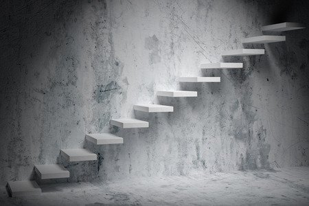 ascending: Business rise, forward achievement, progress way, success and hope creative concept: Ascending stairs of rising staircase in dark rough empty room with spot light 3d illustration