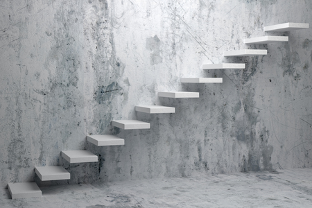 ascent: Business rise, forward achievement, progress way, success and hope creative concept: Ascending stairs of rising staircase in dark rough empty room 3d illustration