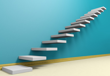plinth: Business rise, forward achievement, progress way, success and hope creative concept: Ascending stairs of rising staircase in blue empty room with beige floor and plinth, 3d illustration