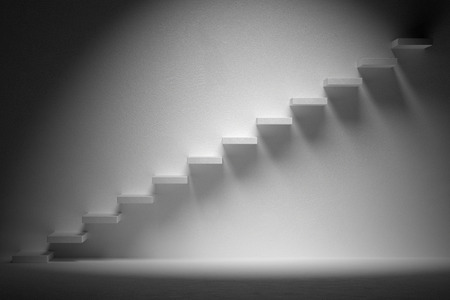 ascending: Business rise, forward achievement, progress way, success and hope creative concept: Ascending stairs of rising staircase in dark empty room with spot light, 3d illustration