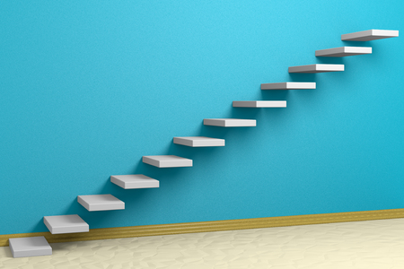 Business rise, forward achievement, progress way, success and hope creative concept: Ascending stairs of rising staircase in blue empty room with beige floor and plinth 3d illustration