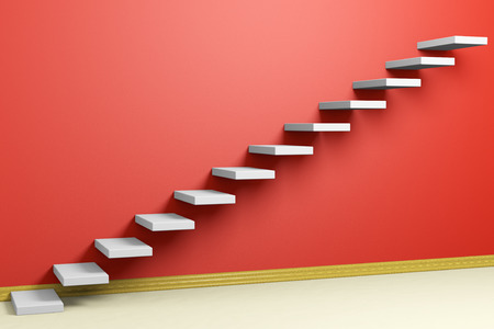 achievement concept: Business rise, forward achievement, progress way, success and hope creative concept: Ascending stairs of rising staircase in red empty room with beige floor and plinth 3d illustration