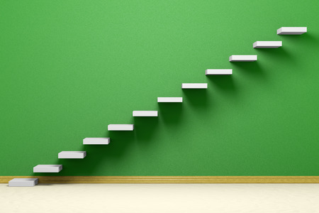 hopes: Business rise, forward achievement, progress way, success and hope creative concept: Ascending stairs of rising staircase in empty green room with beige floor and plinth, 3d illustration