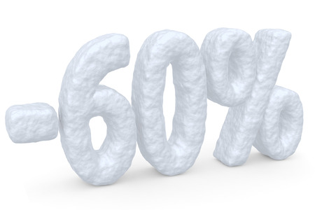 price cut: Winter retail, sale, commercial and business advertisement creative abstract concept: christmas sale discount offer, snowy special 60 percent price cut off text made of snow isolated on white