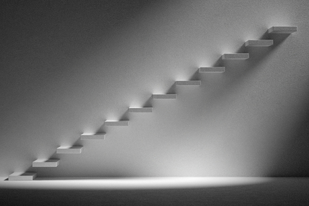 ascending: Business rise, forward achievement, progress way, success and hope creative concept: Ascending stairs of rising staircase in dark empty room with light, 3d illustration