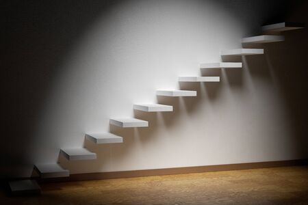the way forward: Business rise, forward achievement, progress way, success and hope creative concept: Ascending stairs of rising staircase in dark empty room with spot light with parquet floor and plinth 3d illustration Stock Photo