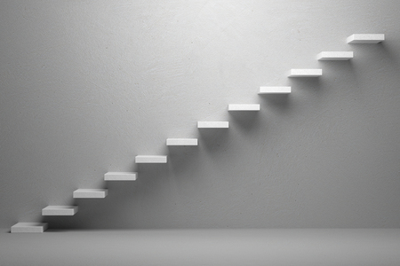 Business rise, forward achievement, progress way, success and hope creative concept: Ascending stairs of rising staircase in white empty room with light, 3d illustration 스톡 콘텐츠