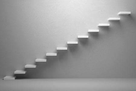 exito: Aumento de negocios, logro hacia adelante, así el progreso, el éxito y la esperanza concepto creativo: Ascendente escaleras del aumento escalera en blanco habitación vacía con la luz, ilustración 3d