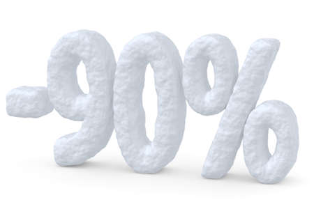 cut off: Winter retail, sale, commercial and business advertisement creative abstract concept; christmas sale discount offer, snowy special 90 percent price cut off text made of snow isolated on white