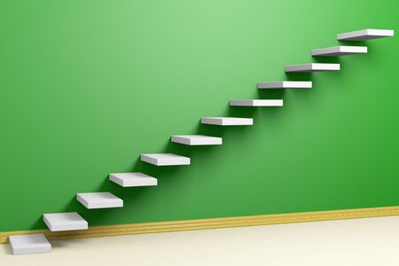 ascending: Business rise, forward achievement, progress way, success and hope creative concept: Ascending stairs of rising staircase in green  empty room with beige floor and plinth 3d illustration Stock Photo