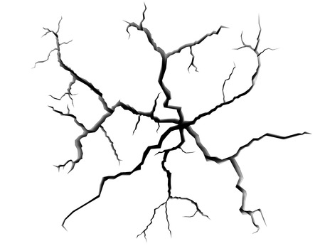 pared rota: Resumen de la ilustración del concepto de peligro, destrucción y daños: grietas en la superficie blanca de la pared blanca o piso blanco vista de cerca, resumen 3d ilustración
