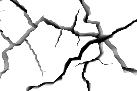 break in: Abstract illustration of the danger, destruction and damage concept: cracks in white surface of the white floor or white wall closeup view, abstract 3d illustration