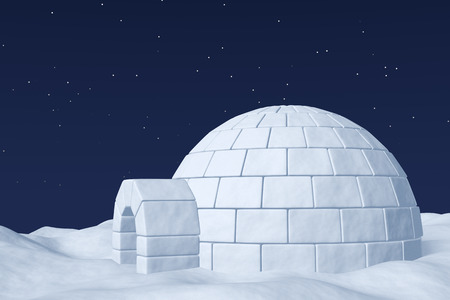 arctic landscape: Winter north polar natural night snowy landscape: eskimo house igloo icehouse made with white snow at night on surface of polar white snow field under cold night north sky with bright stars.