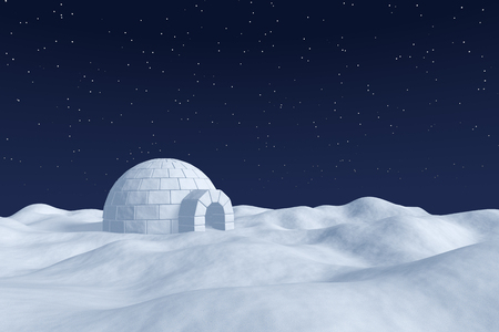 snow field: Winter north polar natural snowy night landscape: eskimo house igloo icehouse made with white snow at night on the surface of polar white snow field under cold night north sky with bright stars