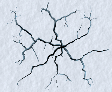 ice surface: Danger on the show surface concept abstract illustration: cracks in blue ice of cracked glacier in textured white snow surface under sunlight closeup view, winter 3d illustration
