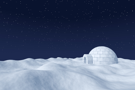 snow field: Winter north polar natural night snowy landscape: eskimo house igloo icehouse made with white snow at night on surface of polar white snow field under the cold night north sky with bright stars.