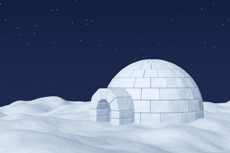 snow field: Winter north polar natural night snowy landscape: eskimo house igloo icehouse made with white snow at night on the surface of polar white snow field under cold night north sky with bright stars.