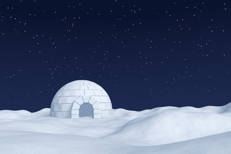 snow field: Winter north polar natural night snowy landscape: eskimo house igloo icehouse made with white snow at night on the surface of white polar snow field under cold night north sky with bright stars