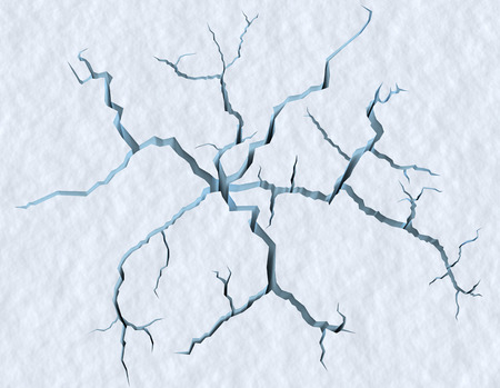 Danger on the show surface concept abstract illustration: cracks in blue ice of cracked glacier in textured white snow surface under sunlight, closeup view, winter 3d illustration