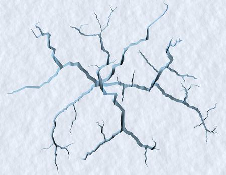 Gevaar op de show oppervlak concept abstracte illustratie: scheuren in blauw ijs van gebarsten gletsjer in getextureerde witte sneeuw oppervlak onder zonlicht, close-up beeld, winter 3D-afbeelding