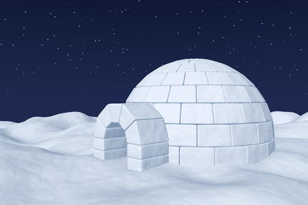 snow field: Winter north polar natural night snowy landscape: eskimo house igloo icehouse made with white snow at night on the surface of polar white snow field under cold night north sky with bright stars Stock Photo