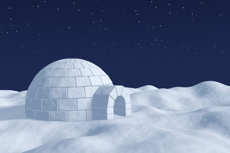 snow field: Winter north polar natural night snowy landscape: eskimo house igloo icehouse made with white snow at night on surface of polar white snow field under the cold night north sky with bright stars Stock Photo