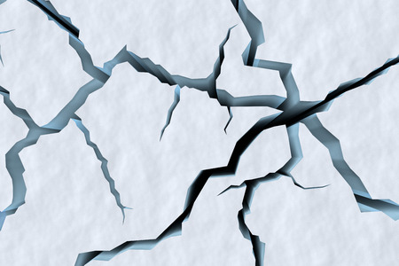 ice surface: Danger on the show surface concept abstract illustration: cracks in blue ice of cracked glacier in textured white snow surface under sunlight top view, winter 3d illustration Stock Photo