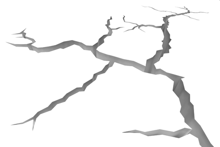 destruction: Abstract illustration of the danger, destruction and damage concept: cracks in white surface of white floor or white wall closeup view, abstract 3d illustration Stock Photo