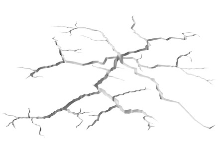 break in: Abstract illustration of the danger, destruction and damage concept: cracks in white surface of the white wall or white floor, closeup view, abstract 3d illustration