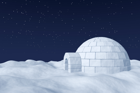 snow field: Winter north polar natural night snowy landscape: eskimo house igloo icehouse made with white snow at night on surface of polar white snow field under cold night north sky with bright stars