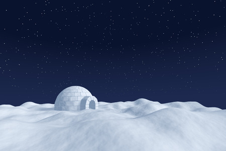 snow house: Winter north polar natural night snowy landscape: eskimo house igloo icehouse made with white snow at night on the surface of white polar snow field under cold night north sky with bright stars.