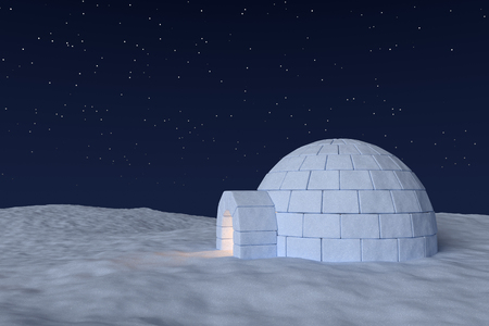 snow field: Winter north polar snowy landscape: eskimo house igloo icehouse with warm light inside made with snow at night on the surface of snow field under cold north sky with bright night stars