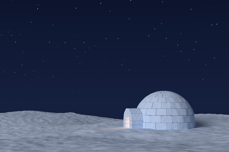 warm house: Winter north polar snowy landscape: eskimo house igloo icehouse with warm light inside made with snow at night on the surface of snow field under cold night north sky with bright stars.